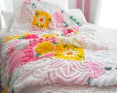 SPECIAL ORDER FOR Stephanie Curtin Vintage Chenille Patchwork Baby Quilt Collectible Size