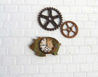 Steampunk clock on piggy shaped base in 1:12 scale