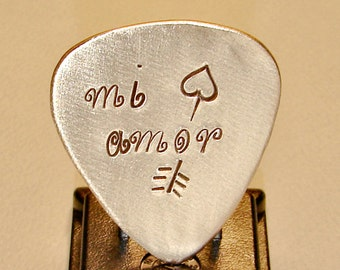 Bronze Guitar Pick with Custom Mi Amor and Arrow Engraving - GP799