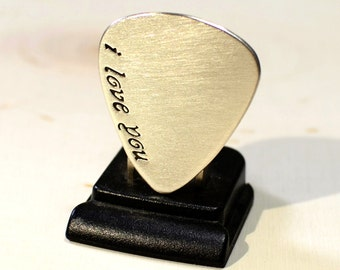 Sterling silver guitar pick with a fancy I love you - GP713