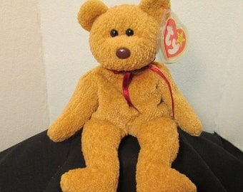 Curley Beanie Bear w tag--Ex Cond--Hard Find--20-70%  off SALES throughout our Shop