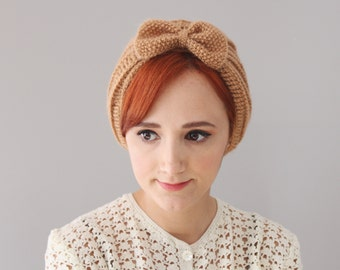 Caramel - Dark Cream Crochet Turban Beret with Bow