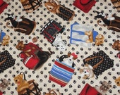 Timeless Treasures Fabric~Puppy Dogs in Tote Bags~Fabric with Dogs~Out of Print Fabric~Quilt Fabric By The Half Yard