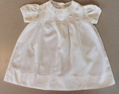 Vintage 1940s White Cotton Floral Embroidered Short Sleeve Pintucked Baby's Dress