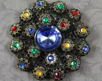 Vintage Multi Colored Rhinestone Silver and Gold Filigree Round Brooch