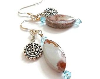 Gemstone Earrings/Dangle Earrings/Crazy Horse Jasper/Sterling Silver/Swarovski Crystals