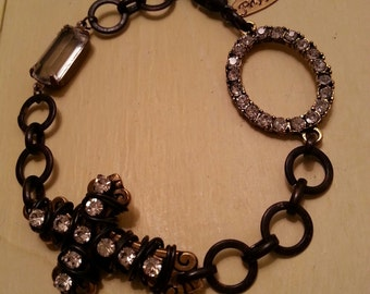 Wire Wrapped Cross Bracelet, Crystal Cross Bracelet, Vintage Bracelet