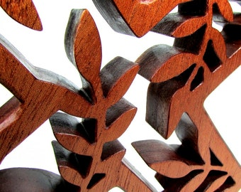 Cross / Leaf Design / Mahogany Wood / Wall Hanging