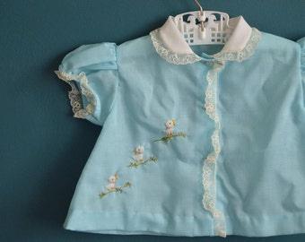 Vintage Baby Girl's Pale Blue Shirt with Embroidered Ducks - Size 6-9 Months