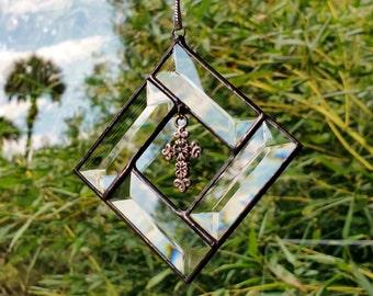 Diamond Beveled Glass Sun Catcher Ornament with Silver Filigree Cross pendant charm