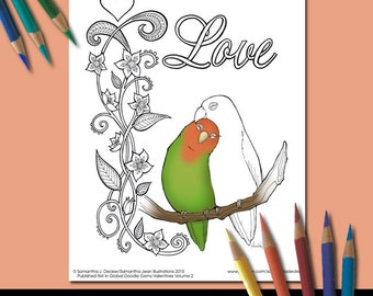 Adult Coloring Page, Love Birds, Romance, Valentines Day, Printable Coloring Pages