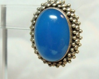 Scorpio Birthday SALE Lovely Blue Chalcedony Sterling Silver Vintage Earrings