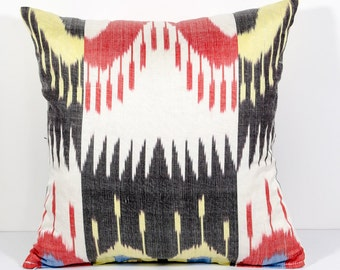 15x15 red black ikat pillow cover, pillow case, red ikat, red black pillow, ikat cushion, decorative pillow, throw pillow, pillow covers