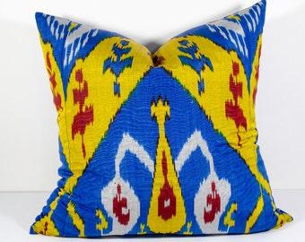 20x20 ikat pillow cover, cushion, pillow case, cushion cover pillowcase, blue, yellow, sofa pillow, decorative pillow, blue yellow pillows