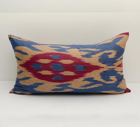 Burgundy Green Throw Pillows : 20x12 blue burgundy ikat pillow cover cushion case ikat