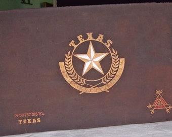 "Cigar Box, Leather Covered Cedar Wood, Texas Montecristo, 11 5/8"" X 7 3/8"" X 1 1/4"", Dominican Republic, Storage or Decor"