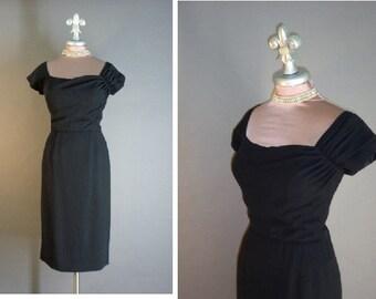 50s dress 1950s vintage BLACK CREPE DRAPED seductive bodice Dorothy O'hara hourglass cocktail dress