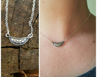 Dainty Bohemian Sterling Silver Die Cast Necklace