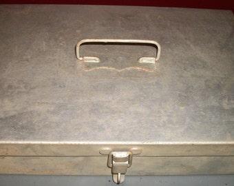 Vintage Multipurpose Metal Box Artist Supplies Tools Cash