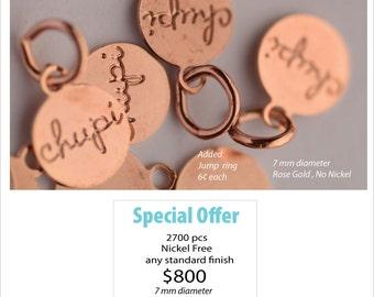 2700 pcs   Nickel Free Small Round Metal Jewelry Tags 7 mm diameter  2700 pcs  Ouzel Tags