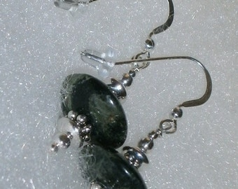 Halloween SPECIALS 925 Sterling Silver Forest Green Kabamba Jasper Disc  Beaded Dangle Earrings