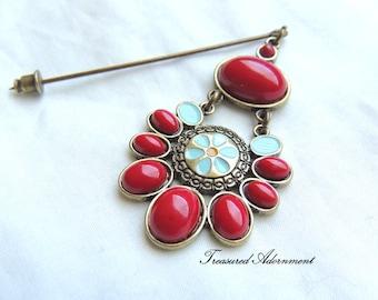 Hijab pin, Red and Turquoise Dangle Hijab pin, Shawl Pin, Scarf pin, Birthday gift present, Stick pin Hat pin, vintage, Holiday gift present