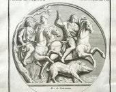 1722 wild boar hunting original antique african animal engraving print
