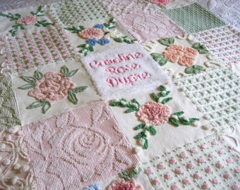 "Personalized Vintage Chenille Baby Quilt -  ""Baby's Breath"" - Custom - Boutique quality bedding for your little one."