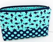 Make up Cosmetic Zipper Pouch, Navy Blue and Mint, Mini Whales Patchwork