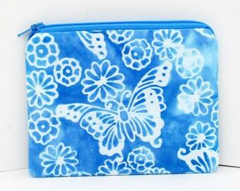 Coin Purse Butterfly Garden Batik Bag, Blue Small Zipper Pouch