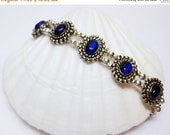 SALE Royal Blue Bracelet - Double Strand Bracelet - Blue Cats Eye Bracelet - Silver Bracelet - Womens Bracelet - Fashion Jewelry