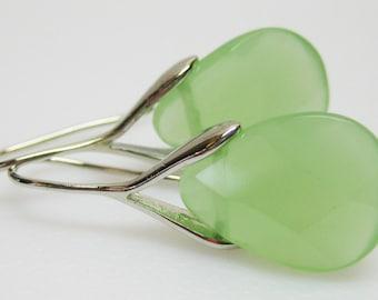 Mint Green and Silver Earrings - Czech Glass Earrings - Teardrop Earrings - Assorted Colors - Womens Jewelry - Fashion Jewlery