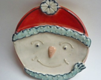 Snowman Spoon Rest  Green, Red and White Polka Dot Cap and Scarf