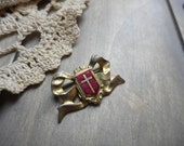 PIF AOK, Goldtone brass Bow brooch Heraldry with Crucifix Cross Red intaglio