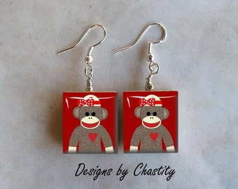 Sock Monkey Girlie Earrings - Really Girlie Sockmonkey
