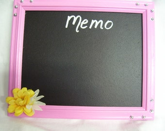 PINK FRAMED MEMO board  edges decorated with yellow flower and silver studs