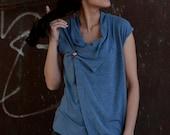 Winter Sale 15% Off!!! under 50,  Wrap asymmetrical top in azure