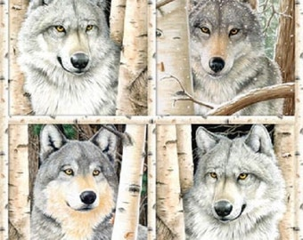 """Wolf Flannel Fabric Panel, 24"""" x 43"""" Panel, Call of the Wild, Northcott F20925, Photo #1 is the full panel"""