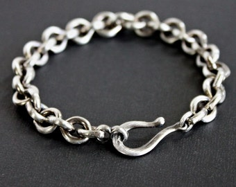 Men's Sterling Silver Heavy Link Chain Bracelet