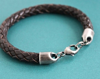 Mens Thick Braid Bracelet, Mens Brown Leather Bracelet, Silver Clasp