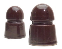 2 Brown Ceramic Insulators, Pole Insulator, Industrial Salvage, Small Insulators, Industrial Office Decor, Rustic Paperweight, Gift for him