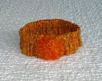 """Dog Bandana, Fall Leaves on Orange Dog Scrunchie Collar - iridescent orange rosette - Size XL - 18"""" to 20"""" neck"""