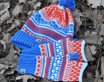 Knitted set of the beanie and fingerless, Merino wool hat, Colorful beanie, Fun hat, Fingerless with dots. Valentines gift
