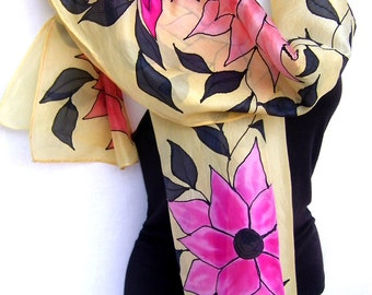 """Hand Painted Silk Scarf, Floral, Flowers Leaves Vines, Vanilla Pink Orange Black, Multicolor Silk Scarf, 71"""" x 18"""", Gift For Her"""