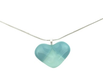 Pendant Necklace, Blue Patchwork Heart, Art Glass, Silver Jewelry