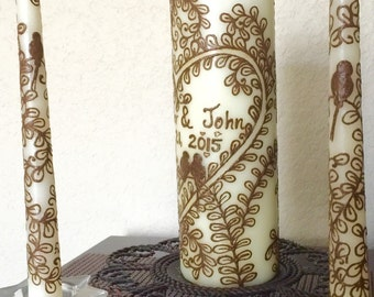 Paisley Unity Candle Set with Henna- Henna Candles with Swarowski crystals - OOAK - Unique