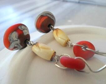Lampwork Earrings, Handmade Glass Earrings, OOAK Jewelry, Autumn Fashion, Artisan Light Weight Pair of Long Dangle Drop Earrings
