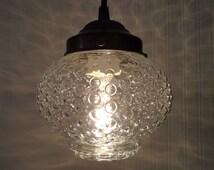 Vintage Hobnail Globe PENDANT Light Antique Bubble Glass by Lamp Goods