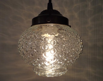 PENDANT Light of Vintage HOBNAIL Globe Kitchen Clear Upcycle Antique Bubble Glass Ceiling Flush Mount Lighting Fixture by Lamp Goods