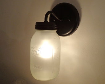FROSTED Mason Jar Wall SCONCE Lighting Fixture New Quart - Farmhouse Flush Mount Light LampGoods Pendant Chandelier Track Fan Rustic Country